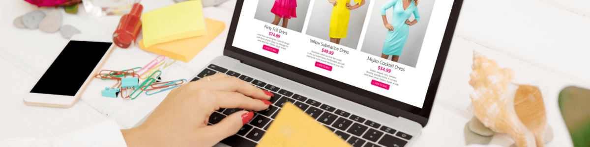 Woman online shopping with credit card