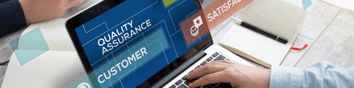 Quality assurance, satisfaction & customer on laptop screen