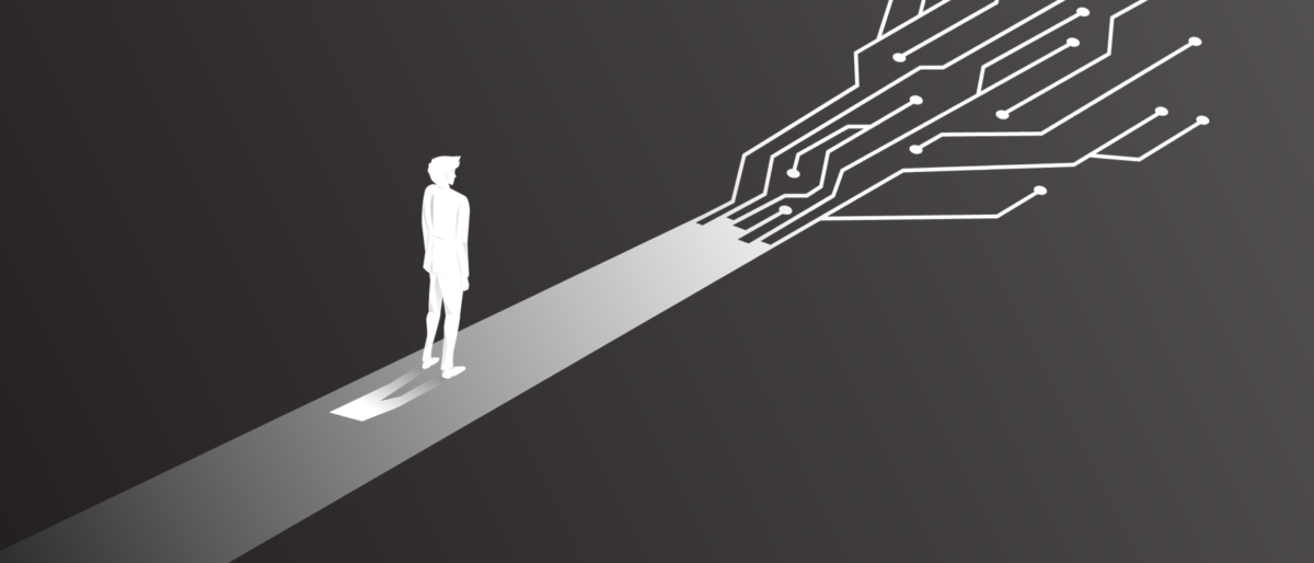 A black and white cartoon of a person on a path that splits into digital-style forks, representing digital business transformation.