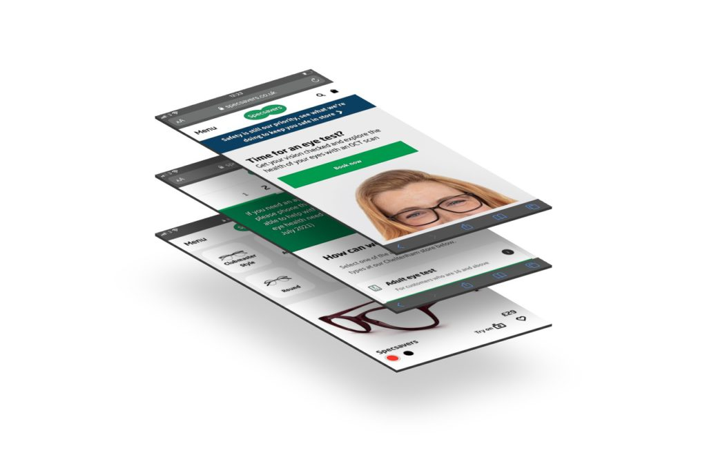 Specsavers website on mobile device screens